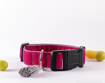 "Adjustable pink velvet / handmade dog collar / Size M / 2,5 cm (1"")"