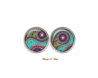 Stud Earrings * indian paisley * glass stainless steel blue glass cabochon