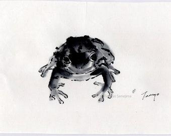 Frog, Original Black Ink Sumie Suibokuga Painting, Ukiyoe, Home Decor, Interior, Japanese Traditional Art