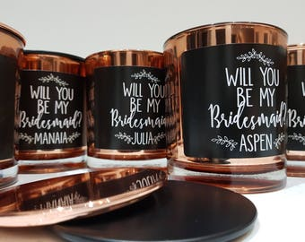 Handmade 'Will you be my bridesmaid? Personalised Candle