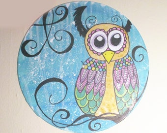 Vinyl record art - Big Eye Owl original painting- fantasy wall art, children's room decor, hipster, animal lover gift Recycled