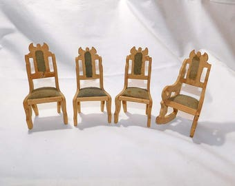 Vintage Miniature Doll House Furniture Four Handcrafted Wooden Chairs With Upholstered Seats - Doll House Collector