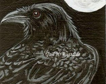 RAVEN Corvid Crow 6 with Full Moon Ltd Ed Print ACEO Mini Art Card by Gail Ragsdale