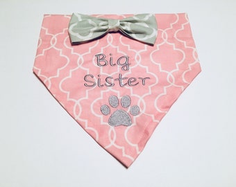 Big Sister, Dog Bandana, Gender Reveal, pink, Reveal Party, gender reveal pet, Dog Lovers Gift, Birthday Present, New Baby, Photo Shoot