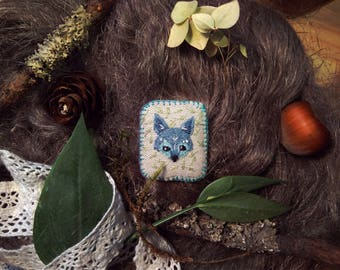 Brooch with embroidery Fairy-tale wolf
