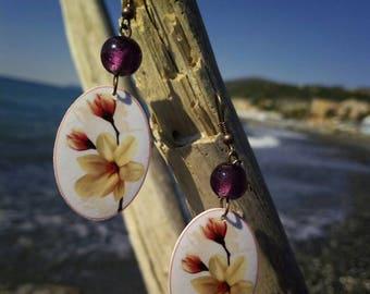 Flower earrings, pink earrings, spring earrings, handmade earrings, shrink plastic earrings, oval earrings, plastic jewelry