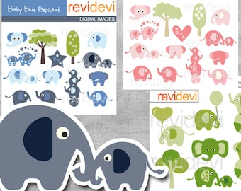 Elephant clipart sale bundle commercial use / elephant digital clip art / party elephant Clip art, pink, blue, green / instant download