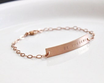 Rose Gold Nameplate Bracelet, Rose Gold Bar Bracelet, Personalized Bracelet, Hand Stamped Bracelet, Customized  ID bracelet
