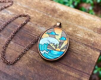 Wooden Necklace - Ocean Sunrise