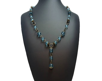 Bronze and Blue Beaded Y Necklace, Metal Link Blue Drop Necklace Brown and Blue, Y Drop Necklace Clear Blue, Something Blue Jewelry Gift