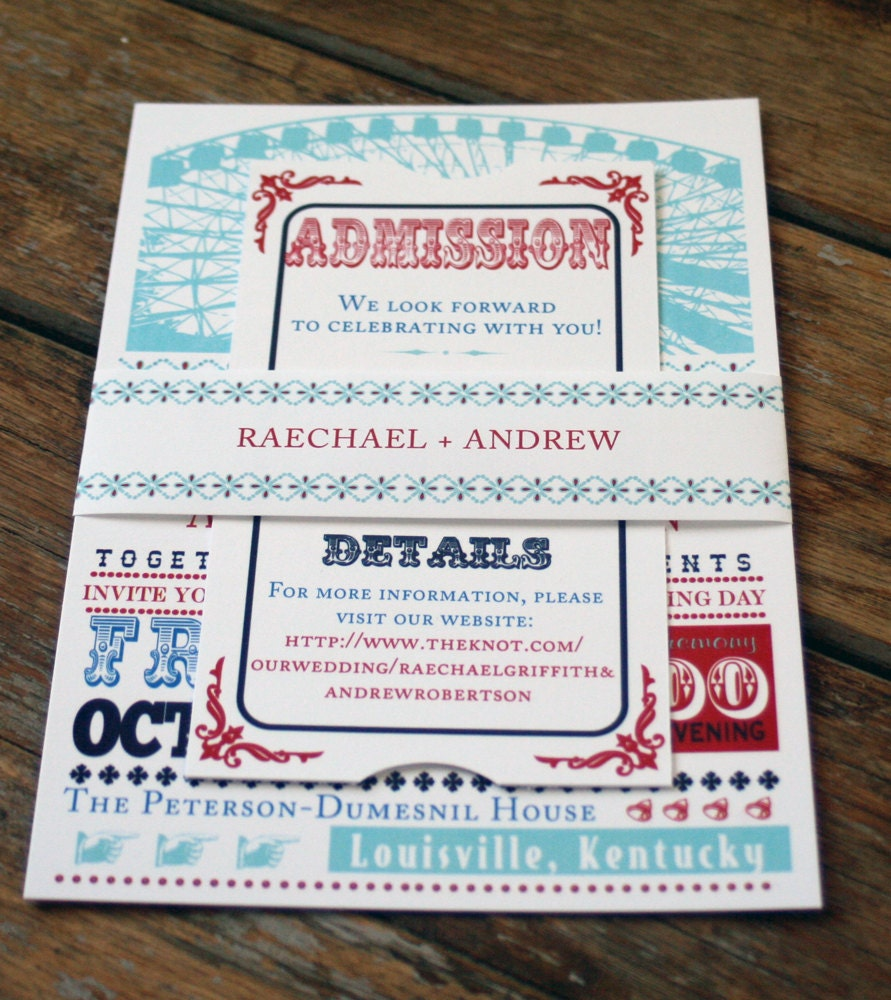 Modern Retro Wedding Invitation Ferris Wheel Wedding