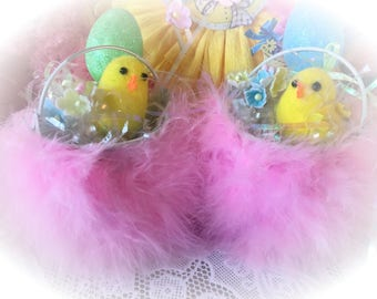 Easter Basket Ornament Spring Chicks Eggs Pink Marabou Vintage Baby Chicks Shabby Chic Decor Decorations Gift Idea by Sweet Vintage Designs