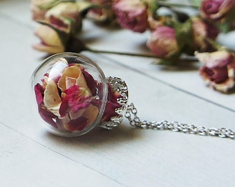 Rose Petal, Terrarium Jewelry, Red Rose, Real Flower Necklace, Botanical Jewelry, Glass Bottle Pendant, Dried flower necklace, Real Plant