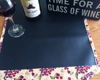 Wine Print Chalk Cloth Table Runner // Wine Table Runner