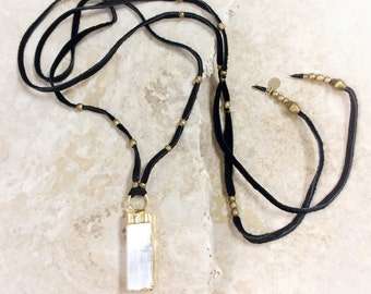 Angel Bay Talisman (GOLD) necklace - electroplated selenite sheet pendant on an adjustable leather wrap cord