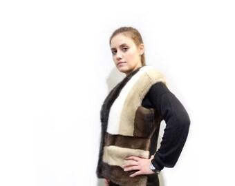 Real Fur Mink Vest,Real Fur Vest,Sleeveless Jacket,Mink Fur Vest,Special Fur Vest, Mink Vest, Colorful Vest, Sable Vest F284