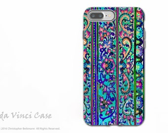 Colorful Floral Line Art - Artistic iPhone 7 PLUS - 8 PLUS Tough Case - Dual Layer Protection - Malaya