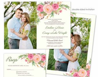 Photoshop Template - Spring Flowers Wedding Invitation - Photo Card 252