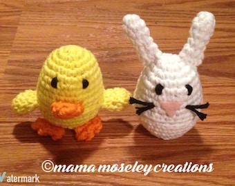 Easter Egg Buddies-Bunny & Chick Crochet Pattern