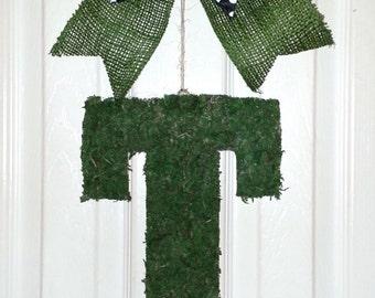 Letter T door hanger, Fall monogram wreath, Moss Letter, Monogram Letter T, Moss Door hanger, Letter T wreath, Initial Door Hanger