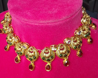 Indian Necklace with Matching Earrings. Gold Plated. Hand Made. Green & Red Semi Precious Stones.
