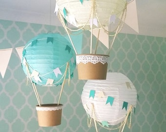 Whimsical Hot Air Balloon Decoration DIY kit MINT , Nursery Decor , Baby Shower Decor , Baby Boy , Travel Theme Nursery - set of 3