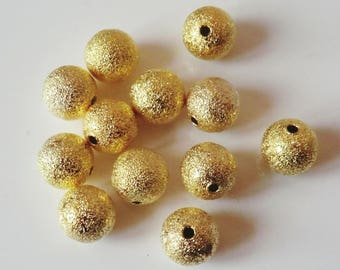 20 x gold brushed metal 10mm beads
