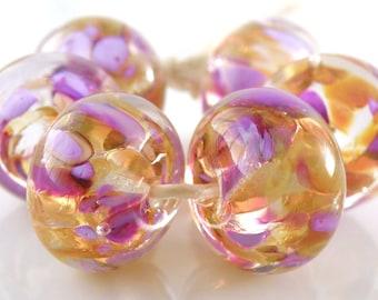 Montmartre Encased SRA Lampwork Handmade Artisan Glass Donut/Round Beads Made to Order Set of 6 10x15mm