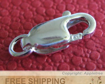 100 Solid Sterling Silver Lobster Clasps 10mm x 4mm with Jump Ring and Trigger