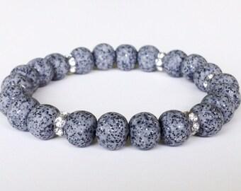 Polymer Clay Bead Bracelet, Grey, Stretch, Glitter, Swarovski Crystals