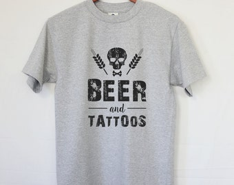 Beer and Tattoos T-shirt - Best Beer Tee - Tattoo Lover - Beer Lover - Skulls - Tattoo - Beer - Cool Gift