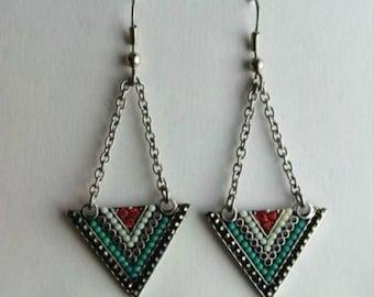 Zola Earrings Campfire Beaded Triangle Drop Dangle