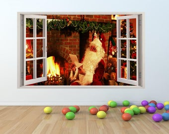 Festive CHRISTMAS Santa Window Effect Wall Art Sticker (cm013)