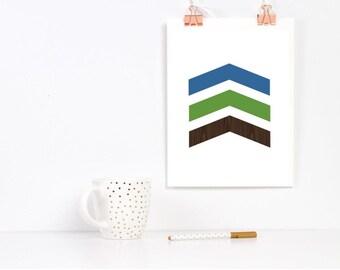 Chevron Arrow Print Green Blue Wood