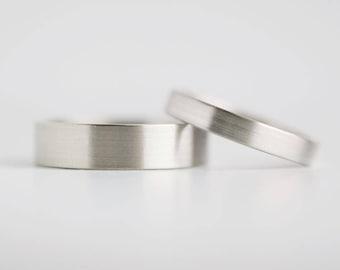 Brushed Finish White Gold Wedding Band Set   3mm and 5mm x 1.3mm white gold rings   Rustic wedding bands 10k 14k 18k white gold