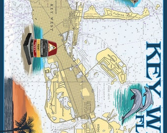 Key West, Florida - Nautical Chart (Art Prints available in multiple sizes)