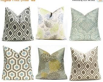 15% Off Sale Blue Pillow , gray pillow  Decorative Pillow Damask Pillow Covers , Blue pillow , linen pillow beige pillow  Blue Tan GrayHome