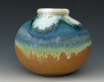 SMALL STONEWARE VASE #9 - Ceramic Vase - Pottery Vase - Small Vase - Round Vase - Handmade Vase - Small Flower Vase - Small Bottle