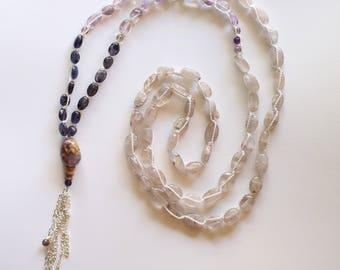 Amethyst, Quartz, Iolite Mala Necklace