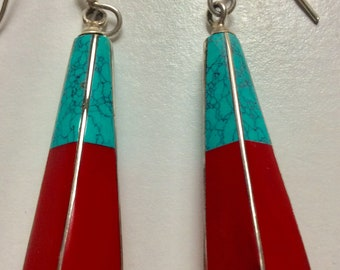 Turquoise/Coral and Sterling drop earrings