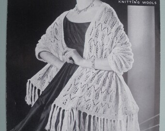 Vintage Knitting Pattern 1950s 1960s Women's Shawl / Stole / Wrap 50s 60s original pattern Hayfield No. 2070 UK ladies retro evening wear