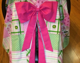 Pink Tractor Car Seat Canopy