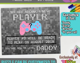 Gamer Dad Personalized Pregnancy Announcement Puzzle - Funny Pregnancy Announcement - Daddy to be announcement - New Dad Announcement