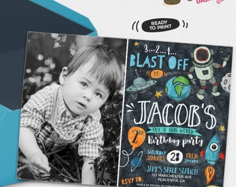 Astronaut Birthday Photo invitation Rocket party invitation Printable outer Space invitations Rockets invitation astronaut invitation