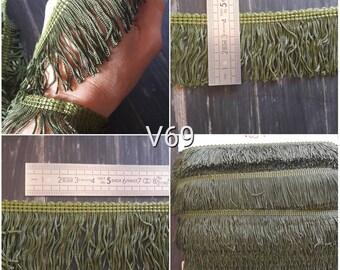 V69 lace fringe vintage Green Khaki army 45mm