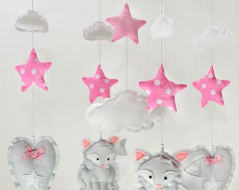 Mobile Cradle felt Fox and stars-Mobile Montessori cot grey and pink for newborn-hearts clouds mother-Children's items