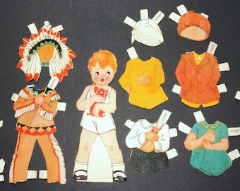 1940s 1950s BOBBY Paper Doll and Clothes Vintage Retro