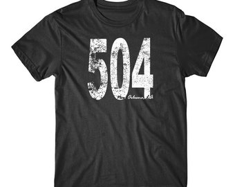 Vintage Style New Orleans Area Code 504 T-Shirt