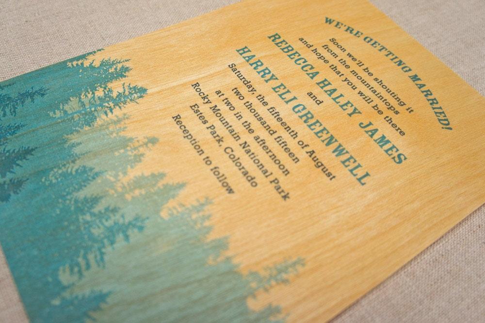 Real Wood Wedding Invitations: Real Wood Wedding Invitations Pine Forest Blue