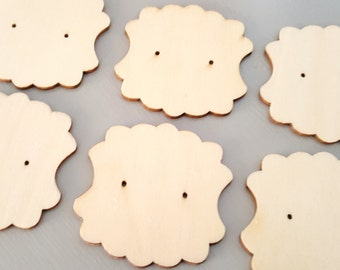 6 pc Laser Cut Plywood Earring Display Card SCALLOPED